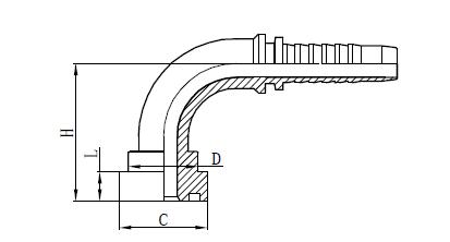 Disegno del raccordo di montaggio del tubo flessibile 4SH