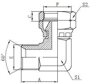 Disegno del connettore a gomito BSP