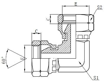 Disegno dell'adattatore del gomito femmina BSP