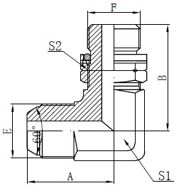 Disegno con perno regolabile O-ring BSP