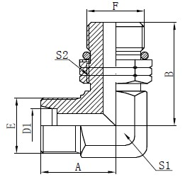 Gomito maschio regolabile disegno del perno