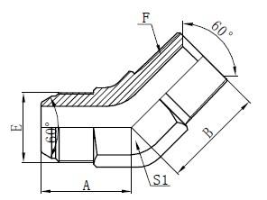 Disegno dei connettori a gomito JIS GAS