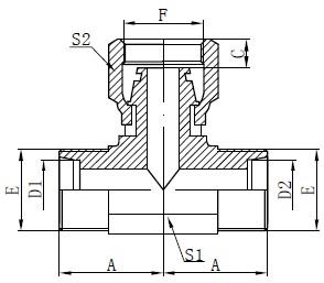 Disegno del T del tubo flessibile femminile metrico