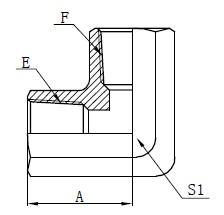 Disegno adattatore filettatura femmina NPT